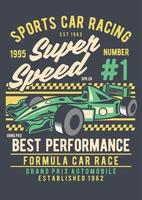 emblema de corrida de carros esportivos vintage, design retrô de emblema vetor