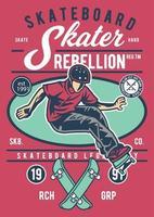 distintivo vintage rebelião skate, design retrô distintivo vetor
