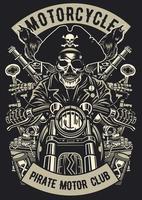 emblema vintage do clube de motocicleta pirata, design retrô de emblema vetor