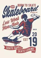emblema do clube de skate vintage, design retrô de emblema vetor