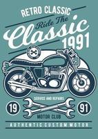 distintivo vintage retrô clássico motocicleta, design retrô distintivo vetor
