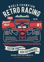 emblema vintage de corrida retrô, design de emblema retrô vetor