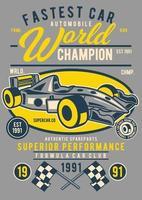 emblema do carro mais rápido vintage, design retrô do emblema vetor