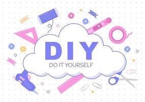 Ferramentas DIY faça você mesmo ilustração de plano de fundo para reforma de casa e projetos criativos vetor
