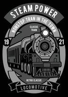 Steam power vintage badge, design retro do emblema vetor