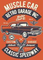 emblema retrô muscle car vintage, design retrô emblema vetor