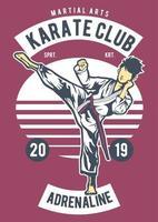 emblema vintage do karate club, design retro do emblema vetor
