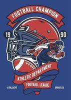 emblema da liga dos campeões de futebol vintage, design retrô de emblema vetor