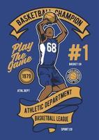 distintivo vintage de campeão de basquete, design retrô de distintivo vetor