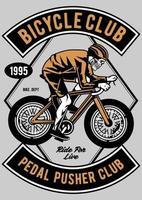 Crachá vintage de bicicleta caveira, design retrô vetor