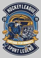 emblema da liga de hóquei vintage, design retrô de emblema vetor