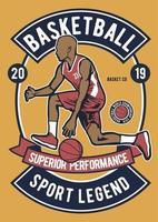 Emblema vintage da lenda do esporte de basquete, design retrô vetor