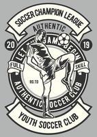 emblema da liga dos campeões de futebol vintage, design retrô do emblema vetor