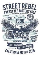 emblema vintage da motocicleta rebelde da rua, design retrô do emblema vetor
