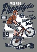 Distintivo vintage de bicicleta freestycle, design retrô de distintivo vetor