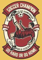distintivo vintage de campeão de futebol, design retrô de distintivo vetor