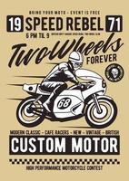 Distintivo vintage de duas rodas para sempre, design retrô vetor