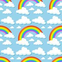 Plano de fundo sem emenda com nuvens e arco-íris vetor
