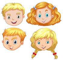 Meninas, e, meninos, com, cabelo loiro vetor