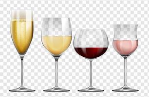 Quatro tipos diferentes de copos de vinho vetor