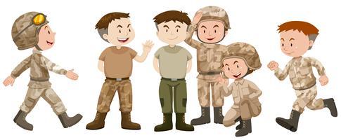 Soldados em uniforme marrom vetor