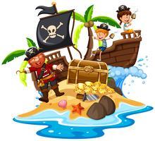 Pirata e crianças felizes na ilha vetor
