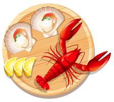 Um, marisco, prato, com, lagosta, e, vieira vetor