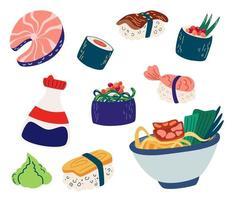 conjunto de comida japonesa. sushi, rolo, peixe, sashimi e macarrão, frutos do mar com arroz, molho de soja, wasabi. ilustração vetorial de alimentos asiáticos isolada no fundo branco. vetor