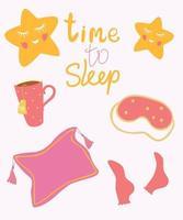 hora de dormir. itens para dormir. caneca de chá, estrelas, meias, máscara para dormir, travesseiro. cartão de boa noite de sono apertado. ilustração do estilo do desenho da mão do personagem de desenho animado do vetor. vetor