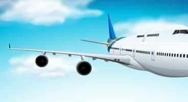 Avião comercial voando no céu vetor