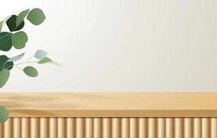 mesa superior de madeira mínima vazia, pódio de madeira em fundo branco com folhas verdes. para apresentação de produtos, mock up, exibição de produtos cosméticos, pódio, pedestal de palco ou plataforma. Vetor 3d