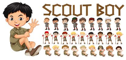 Um, jogo, de, scout, menino, personagem vetor
