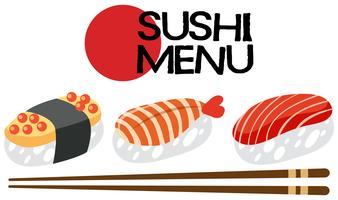 Um conjunto de menu de sushi japonês