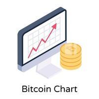 gráfico e análise de bitcoins vetor