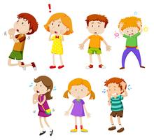 Um conjunto de expressão de crianças pequenas vetor