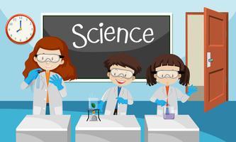 Experiência de estudante na aula de química vetor