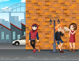 Adolescente de problema urbano na cidade vetor