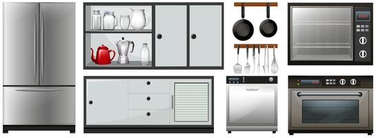 Utensílios de cozinha e móveis vetor