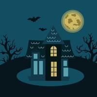 casa misteriosa com árvores, morcegos no fundo da lua. ilustração vetorial sombria para o dia das bruxas. vetor