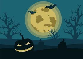 paisagem da noite de halloween com uma abóbora assustadora, monumentos de lápide, a lua, morcegos no fundo de uma lua cheia. ilustração vetorial em estilo simples, modelo de banner vetor
