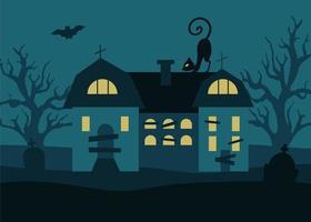 fundo de halloween com casa sombria, árvores, lápides de gato preto e morcegos contra um fundo de lua cheia. ilustração vetorial em estilo simples vetor