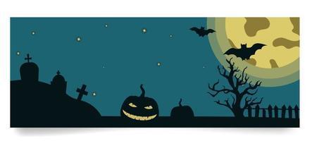 modelo de banner de halloween com árvore, abóbora, lápides, lua, morcegos em fundo de lua cheia. ilustração vetorial em estilo simples vetor