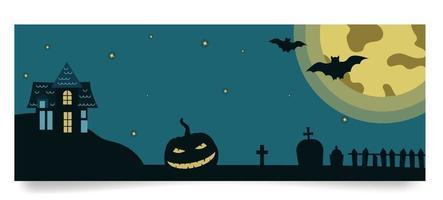 modelo de banner de halloween com casa sombria, abóbora, monumentos graves, lua, morcegos em fundo de lua cheia. ilustração vetorial em estilo simples vetor