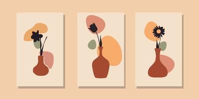boho moderno coleção de modelo de pôster abstrato vaso de flores vetor