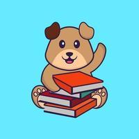 cachorro bonito lendo um livro. conceito de desenho animado animal isolado. pode ser usado para t-shirt, cartão de felicitações, cartão de convite ou mascote. estilo cartoon plana vetor