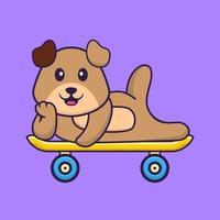 cachorro bonito deitado sobre um skate. conceito de desenho animado animal isolado. pode ser usado para t-shirt, cartão de felicitações, cartão de convite ou mascote. estilo cartoon plana vetor