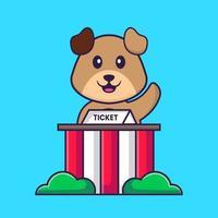 cachorro bonito está sendo um goleiro. conceito de desenho animado animal isolado. pode ser usado para t-shirt, cartão de felicitações, cartão de convite ou mascote. estilo cartoon plana vetor