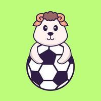 ovelhas jogando futebol. conceito de desenho animado animal isolado. pode ser usado para t-shirt, cartão de felicitações, cartão de convite ou mascote. estilo cartoon plana vetor