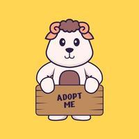 ovelhas segurando um cartaz me adotar. conceito de desenho animado animal isolado. pode ser usado para t-shirt, cartão de felicitações, cartão de convite ou mascote. estilo cartoon plana vetor