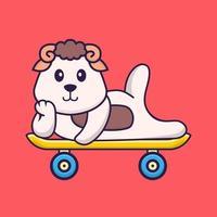 ovelha bonita deitada em um skate. conceito de desenho animado animal isolado. pode ser usado para t-shirt, cartão de felicitações, cartão de convite ou mascote. estilo cartoon plana vetor